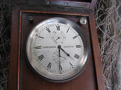 Antique Zenith Chronometer Deck Watch with silvered dial