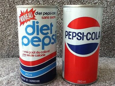 Soda Can Pepsi and diet Pepsi 280 ml from Canada. Push in tabs on top of can