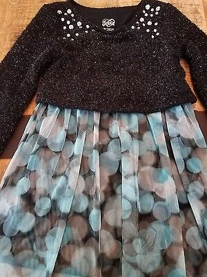 Justice Girls Party Dress Black White & Blue with long Sleeve Bling Size 10