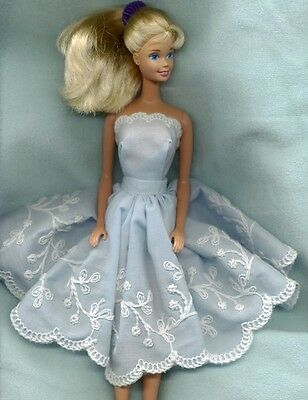Barbie Doll Fancy Clothes - Blue & White Extra Full Decorated Skirt & Top