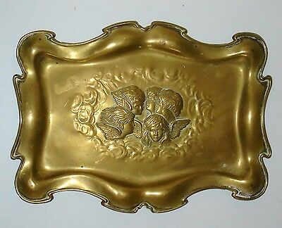Attractive Antique Victorian Art Nouveau Brass Tray With Winged Cherubs / Angels