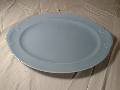 """LuRay Pastels Oval Platter TS&T Windsor Blue 13.25"""" Handle"""