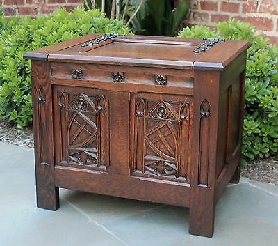 Antique French Oak Neo Gothic PETITE Chest Trunk Blanket Box Small Coffee Table