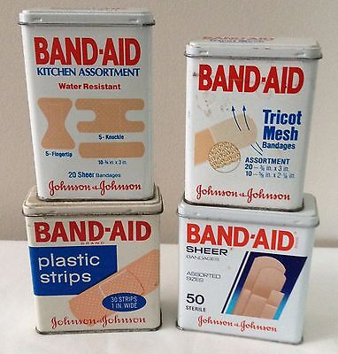 Lot of Four Empty Vintage Johnson & Johnson Band-aid Tin Boxes