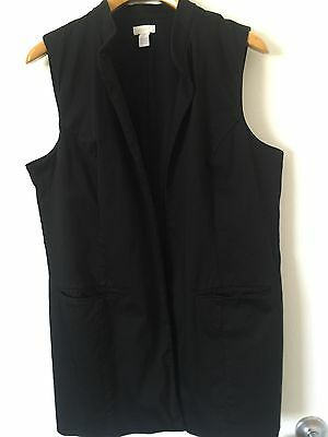 Chico's Long Vest Sz 3 16 Xl Large Black Pockets Lined Jacket Open Front