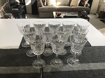 """SET of 12 Waterford LISMORE CUT CRYSTAL 5 7/8"""" CLARET WINE GLASSES Stems MINT"""