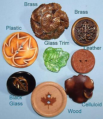 "8 Antique to Vintage Buttons Leaf Designs in Mixed Materials Medium 1.1"" to 22mm"