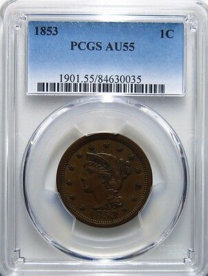 1853 Large Cent Braided Hair PCGS AU-55