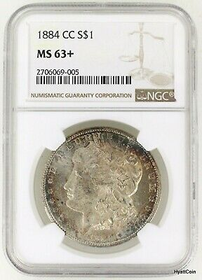 1884-CC Morgan Silver Dollar $1 NGC MS63+ MS63 Plus Carson City Rainbow Toned