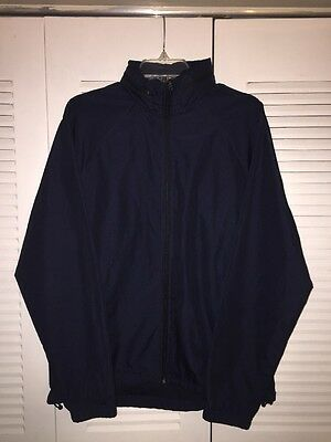 Tek Gear Men's Windbreaker Jacket With Hoodie Navy Size M
