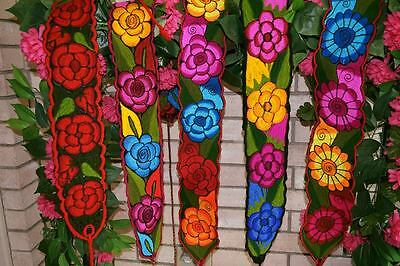 """Colorful Embroidered Flowers Mexican Chiapas Belt(Onesize, Adjustable 4"""" Width)"""