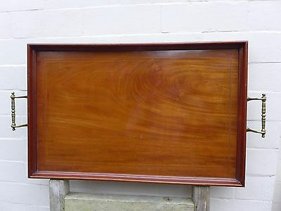 Antique vintage very serving large wooden tray with brass handles