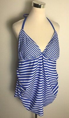 NEW Liz Lange Maternity Swimsuit Tankini Blue White Stripe Halter Padding XXL
