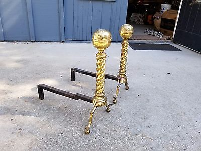 "Antique Pair 18""H Brass Fireplace Andirons / Fire Dogs"