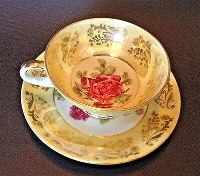 Royal Sealy Pedestal Tea Cup And Saucer - Hand Painted Yellow With Red Rose