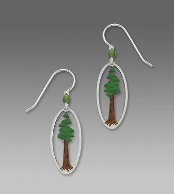 Sienna Sky Earrings Sterling Silver Hook Sequoia Tree in Oval Frame Handmade USA
