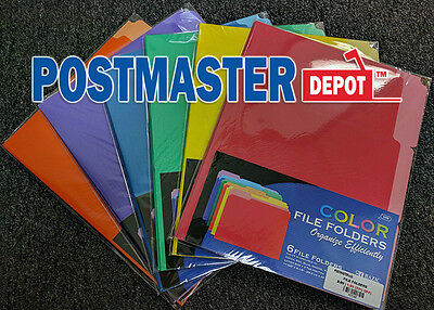 6-PACK OF FILE FOLDERS, 1/3 Cut, Letter Size, Vibrant Colors, Select Your Color!