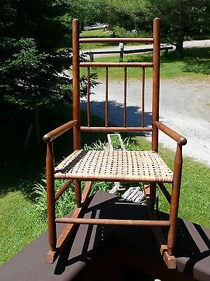 Vintage CHILD Boys Girls Med SIZED WOODEN ROCKING CHAIR High Back w Webbed Seat