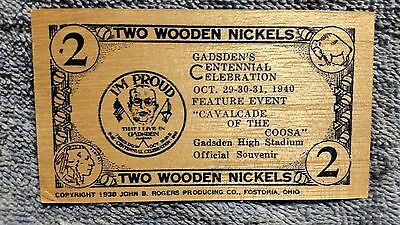 1940 Two Wooden Nickels - Gadsden, Alabama