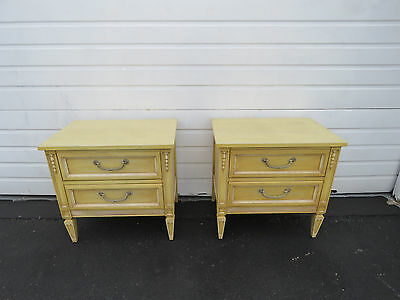 Pair of French Painted Distressed Nightstands End Side Tables  8474