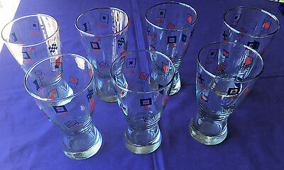 Lot Or Set Of 7 Esso Oil Ship's Flags Nautical Pilsner Beer Bar Glasses - Minty
