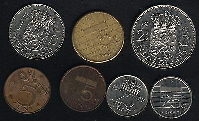 #1 7x NETHERLANDS Coins 5 Gulden 2½ Circulated Currency