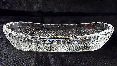 """Waterford Crystal Alana Pattern 9 1/2"""" Long Celery Dish Vintage Signed Nice Cond"""