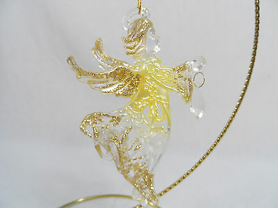 Gold and Ivory Glittered Angel with Jewel Christmas Tree Ornament new cherub
