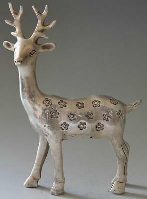 china old Collectible Decorated Miao Silver Carved Deer Skia Statue