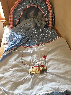 Boys Blue Moses Basket Bedding Set With Fitted Mattress Sheet