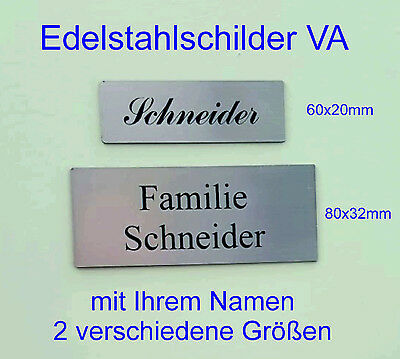 edelstahl briefkastenschild t rschild klingelschild inkl gravur 6 gr en picclick de. Black Bedroom Furniture Sets. Home Design Ideas