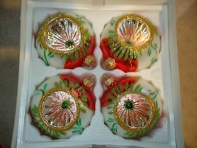 Beautiful Large  Glass Indented Ornaments - Made in  Poland - New  4 1/2""