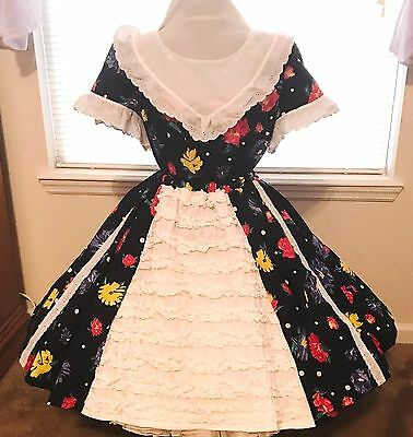 Square Dance Dress 2 Pc Kiti  Bright Flowers On Navy Blue And White Lace Plus 1X