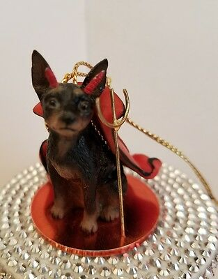 Min Pin Black and Tan Devil dog Ornament Tiny Ones Conversation Concepts