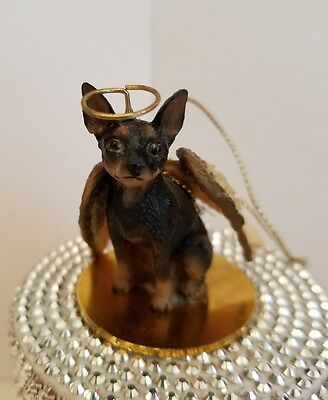 Min Pin Black And Tan Angel dog Ornament Conversation Concepts