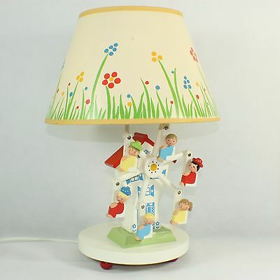 Vintage 70s Nursery Originals wood musical lamp Ferris Wheel ORIGINAL shade