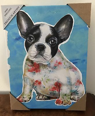 Boston Terrier Or French Bulldog on Wood Framed Canvas - New