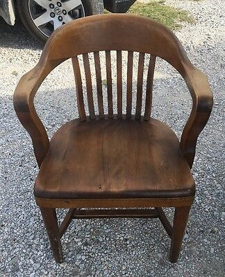 Antique TAYLOR'S WOOD OFFICE ARM CHAIR banker desk courthouse lawyer