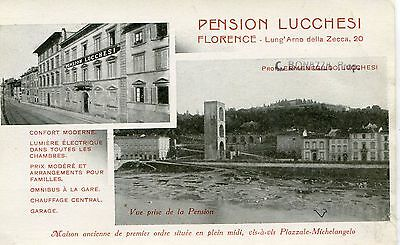 Italy Firenze - Pension Lucchessi old double vignette postcard