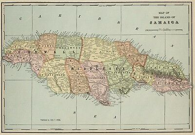 Island of Jamaica Map: Authentic 1899; / Cities; Towns; RRs, Ports, Topog
