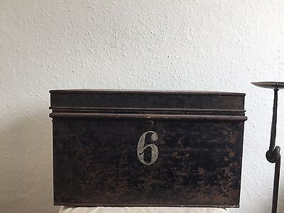 vintage Black Metal Deed Box - Storage Chest Hobby Craft Trunk Antique Old