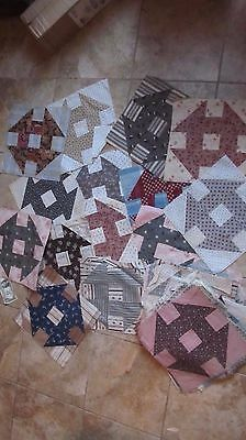 Great Lot of 46 LG. Antique Churn Dash Patchwork Quilt Blocks, Hand Sewn, Crafts