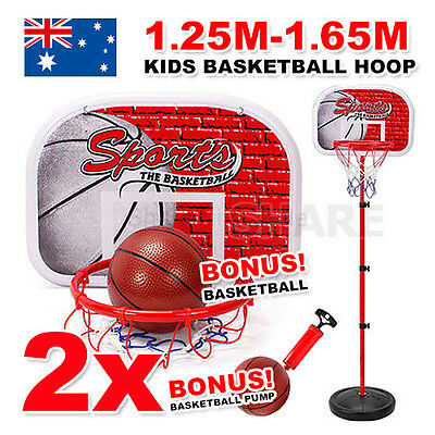 2X 1.25-1.65M Portable Adjustable Kids Basketball Stand Ring Hoop Set Outdoor