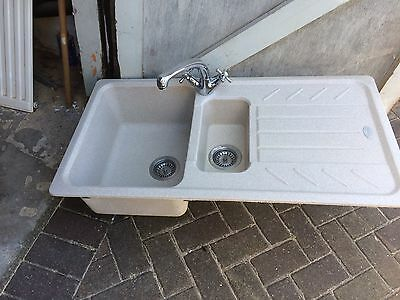 Composite Granite Kitchen Sink Bowl And Half With New Taps