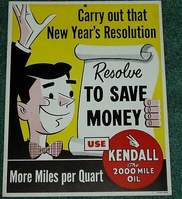 EARLY 1950's KENDALL MOTOR CAN OIL SIGN NEW OLD STOCK
