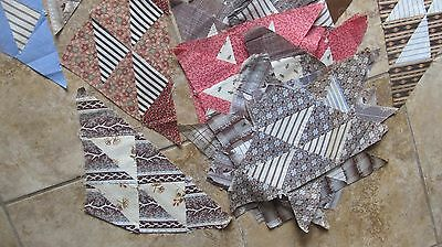 (45) Antique FLYING GEESE TRIANGLE Patchwork Quilt Blocks, Hand Sewn, Crafts