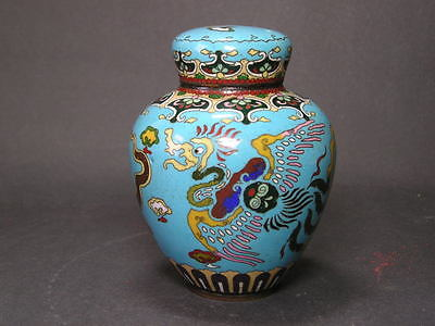 A Small Antique Japanese Cloisonne Tea Caddy Jar & Cover approx 4 Inches