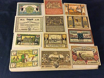 Lot of 12 German Paper Money Banknotes Reichsmarks ca 1910-20 Time period