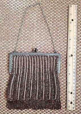 Vintage Copper Beaded Purse with Chain Strap