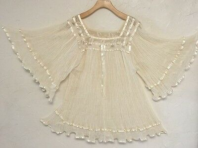 Vintage Mexican Gauze Lace bell sleeves Babydoll top blouse tunic dress M L NEW
